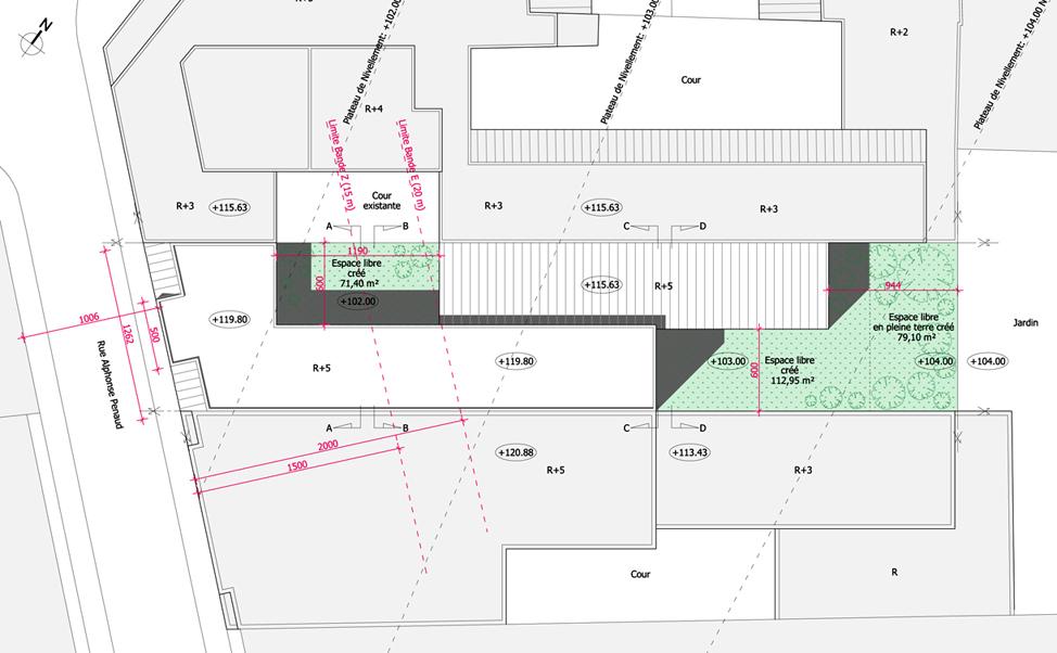 Hôtel Rue Penaud: Plan de toiture